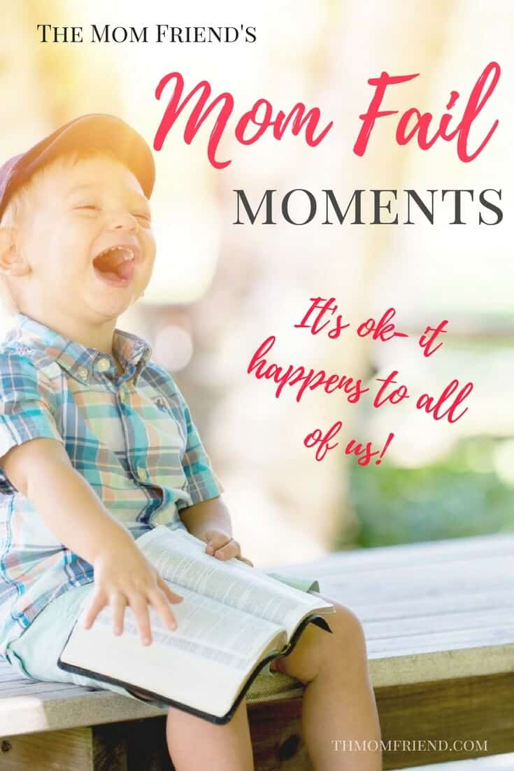 Pinnable image with text for Mom Fail Moments and toddler boy laughing.