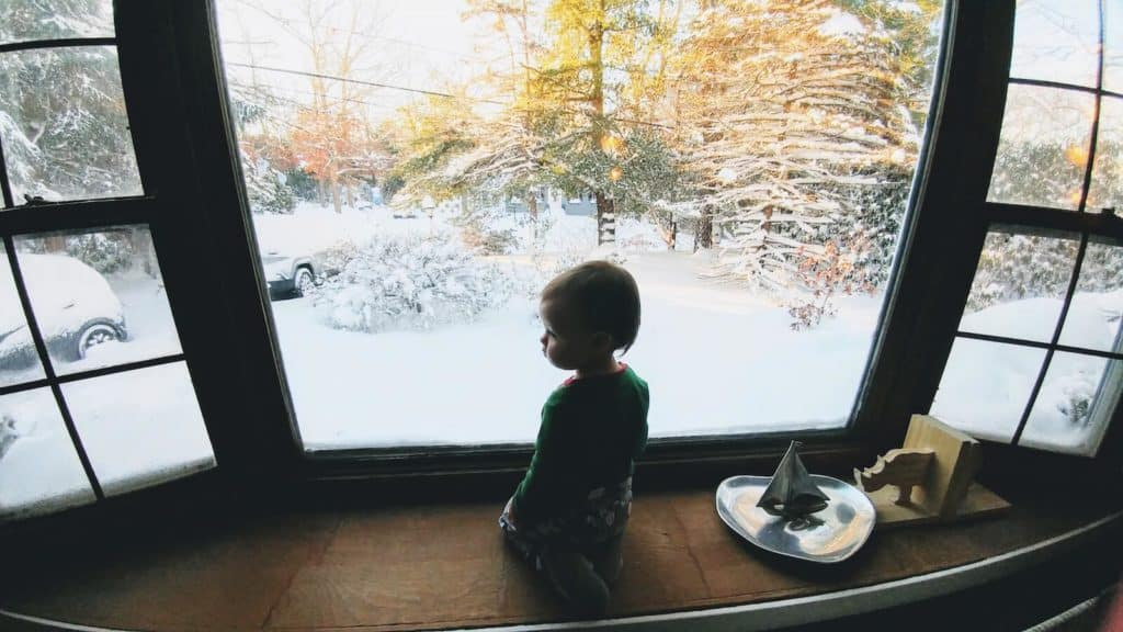 Little girl looks through window at snowy woods.