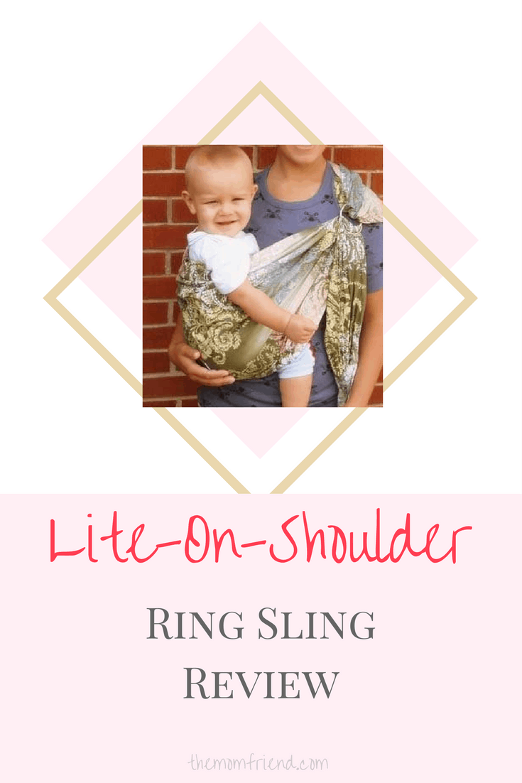 Pinnable image with text for Lite-ON-Shoulder Baby Sling and image of mother using sling.