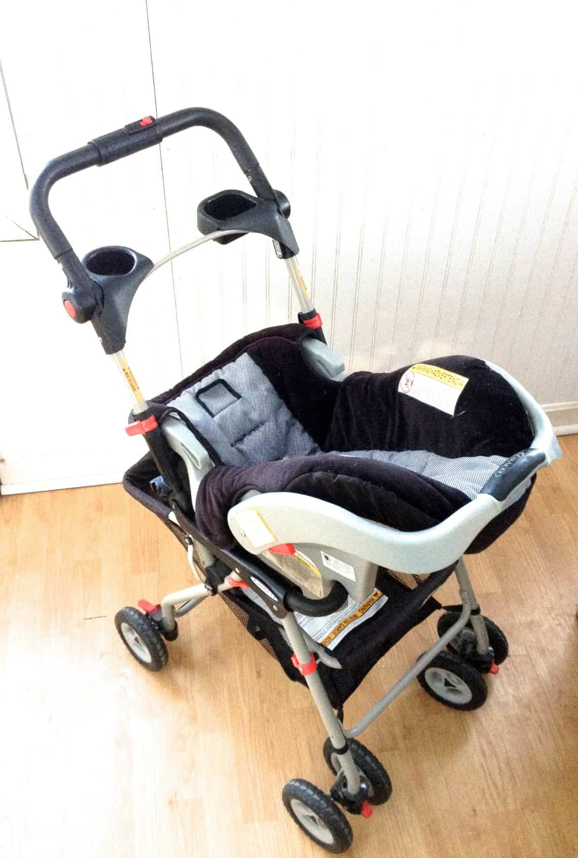Stroller with car seat.