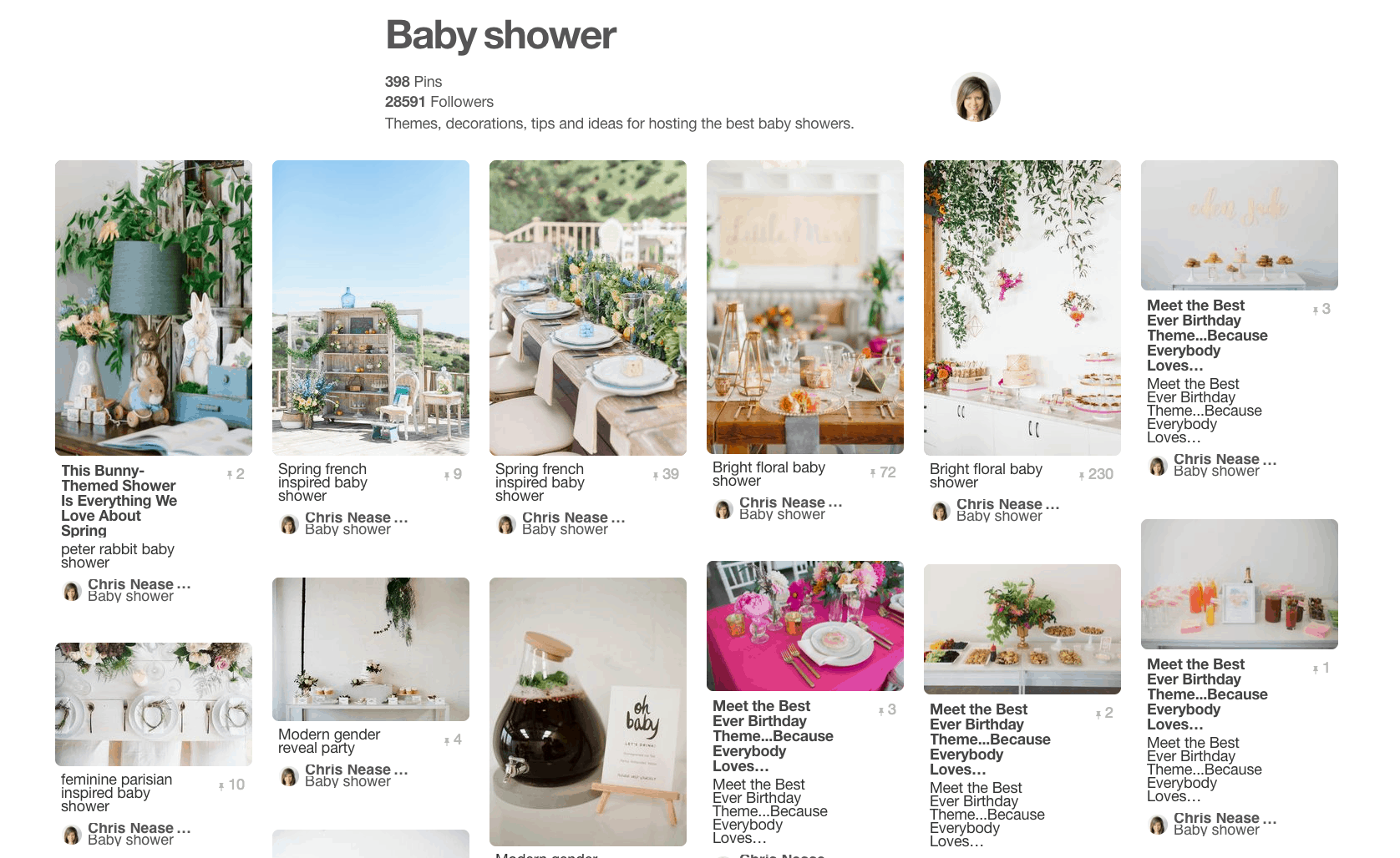Collage of multiple baby shower party ideas.