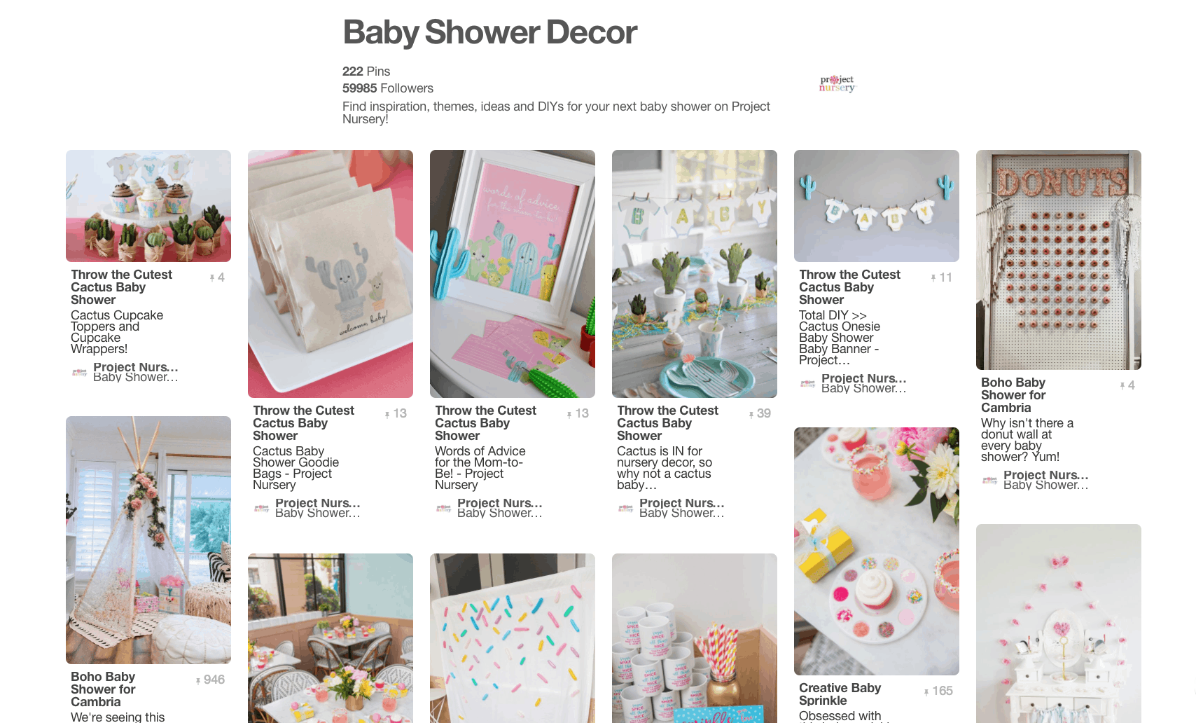 Collage of baby shower decor ideas.