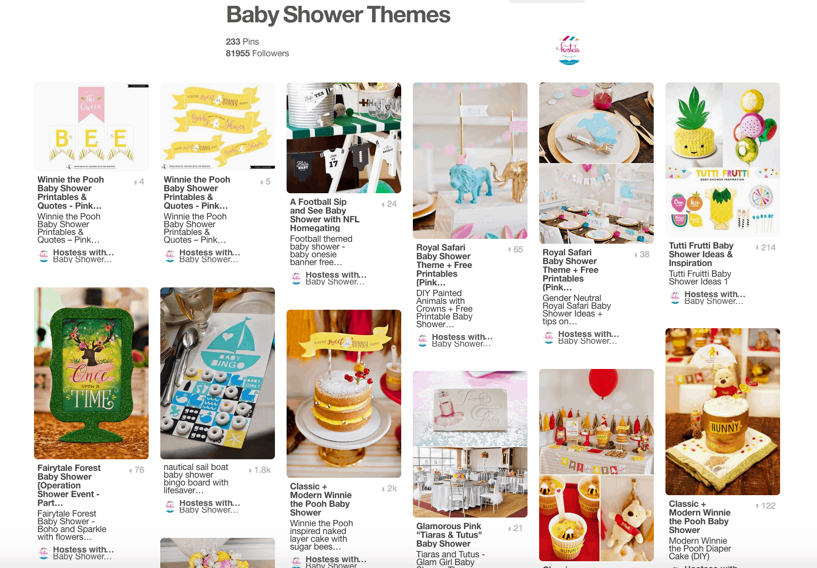 Several images for different baby showers in collage.