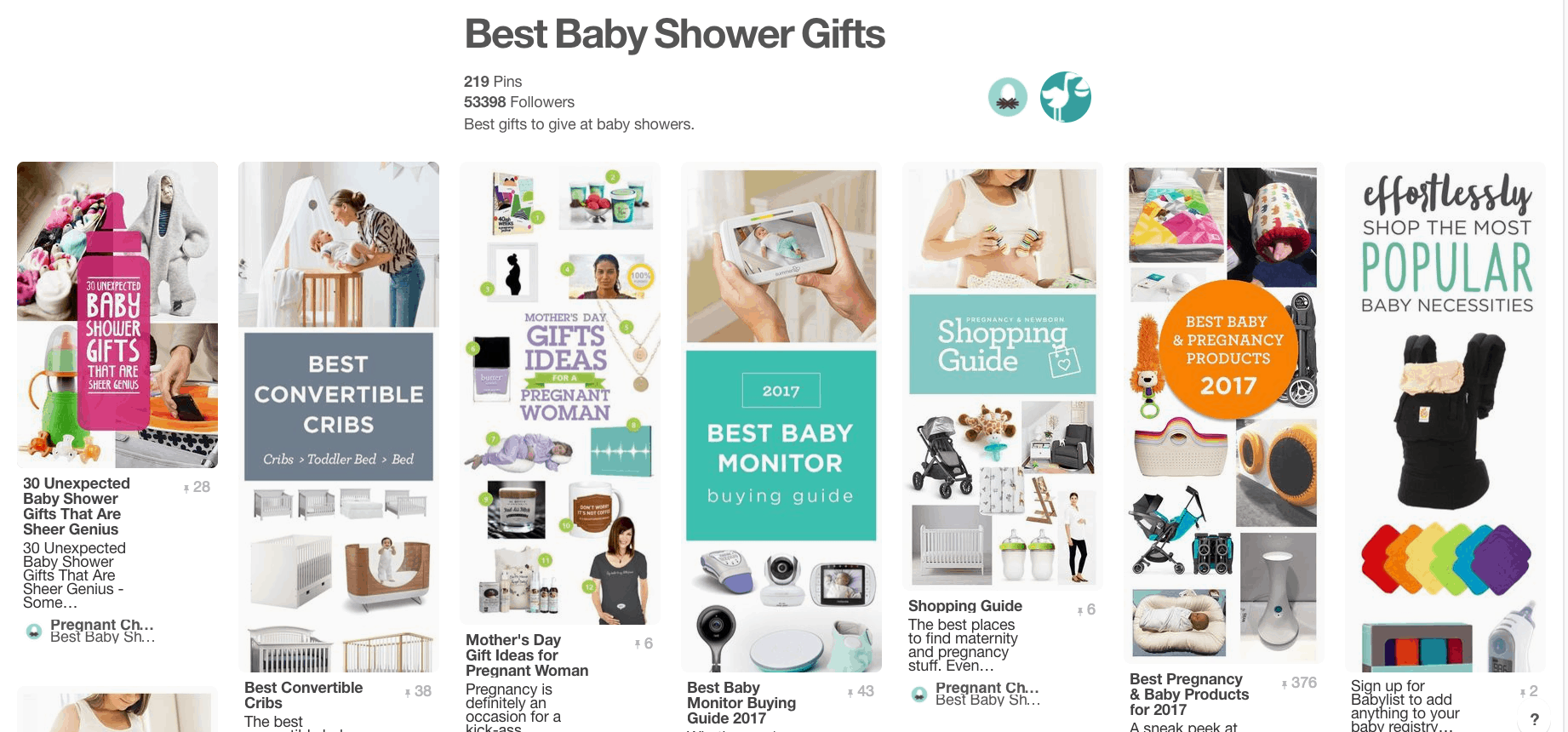 Collage of baby shower gift ideas.