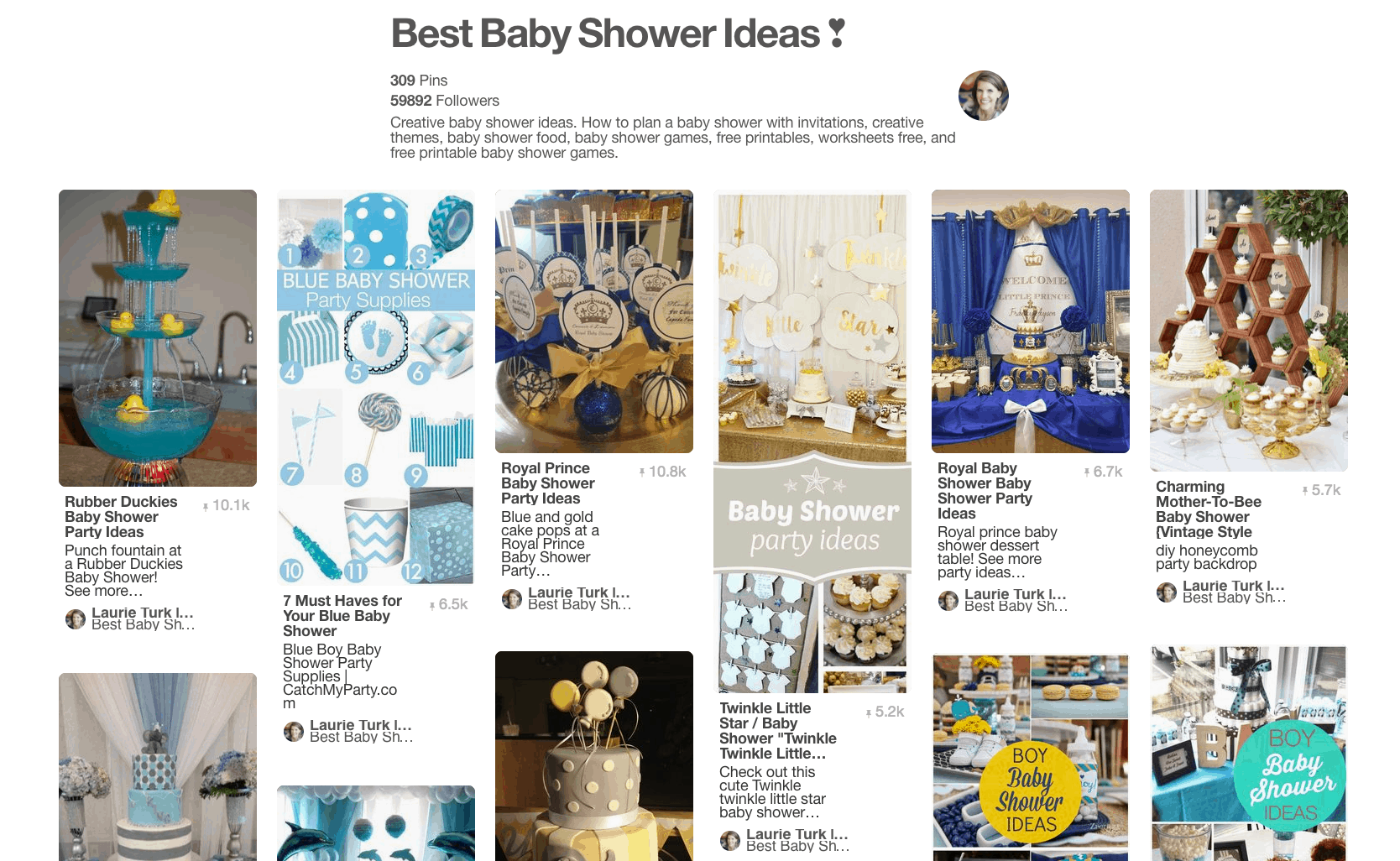 Collage of blue baby shower party themes.