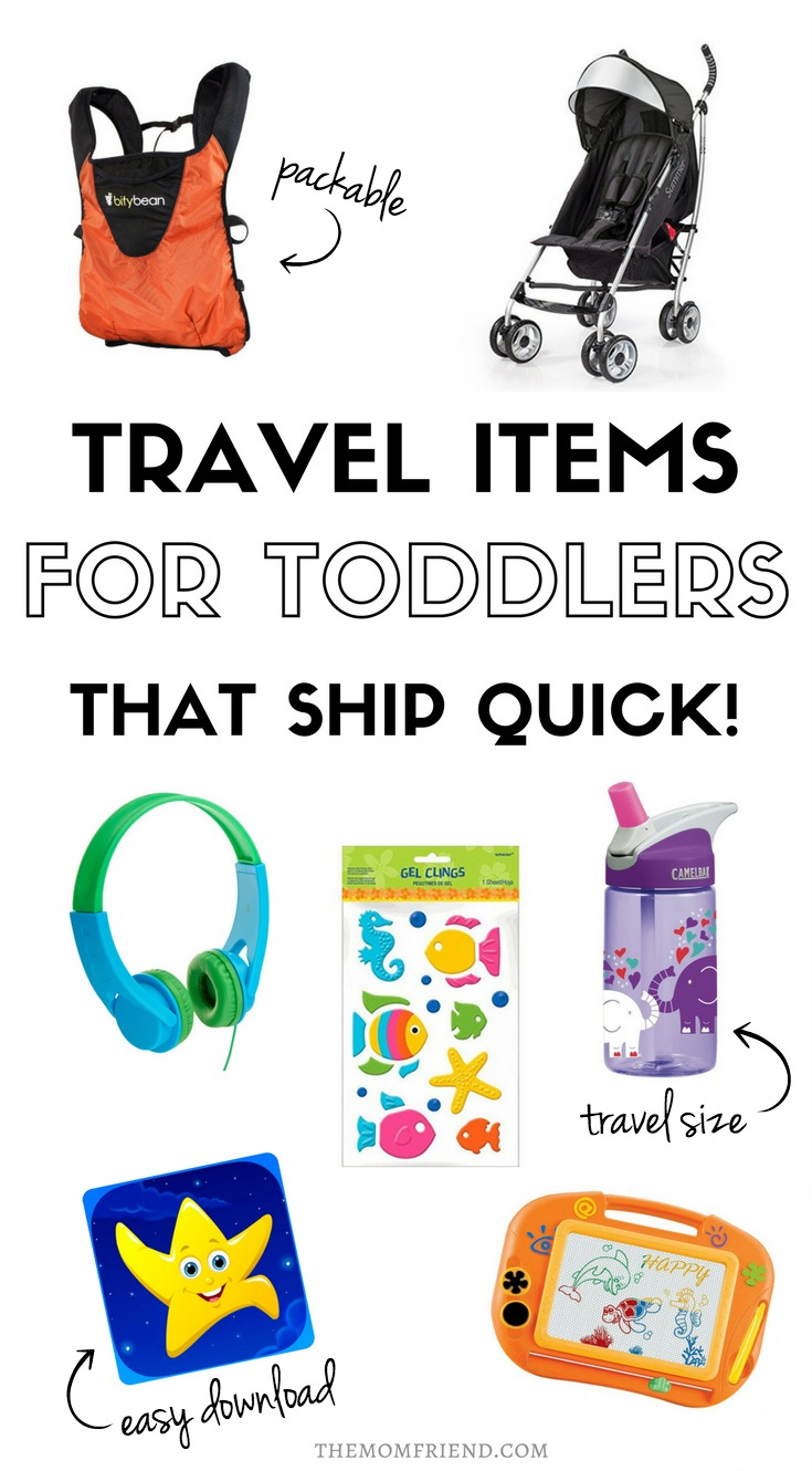 Pinnable image with text for Last Minute Travel Prep for Flying with Toddlers and image collage.