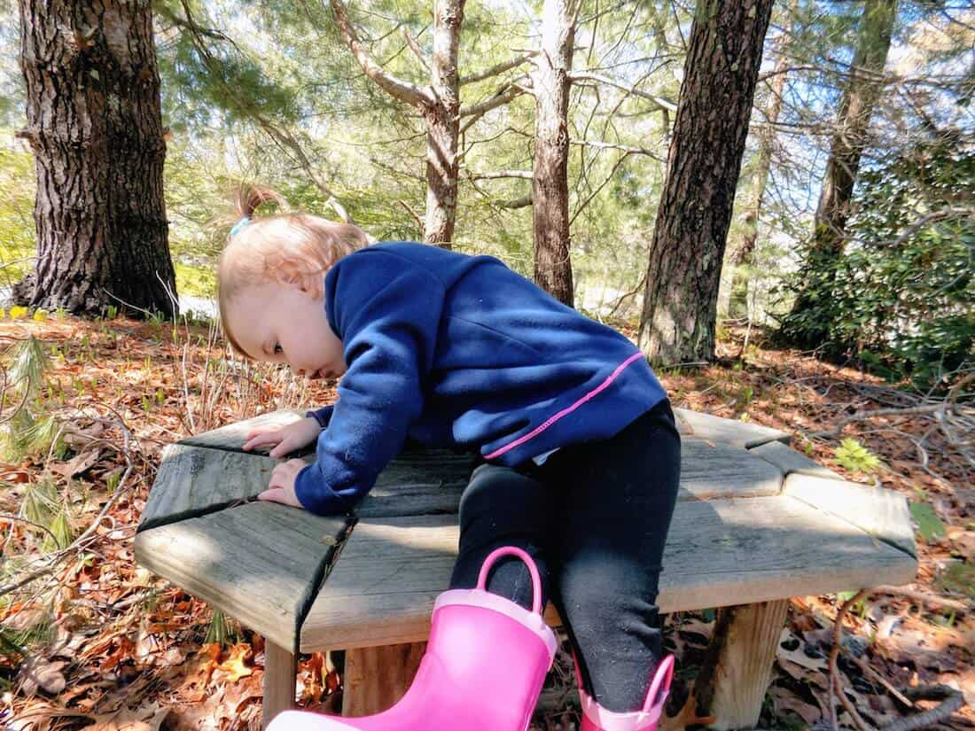 Little girl examines outdoor wooden bench.