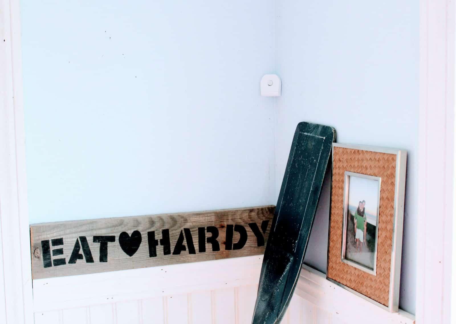 Smart home security equipment in corner.