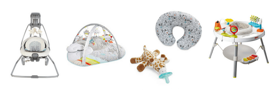 Collage of items for baby registry.