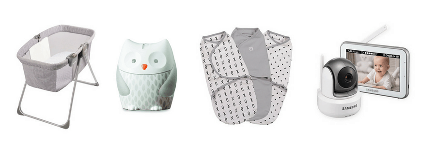 Collage of baby items for registry.