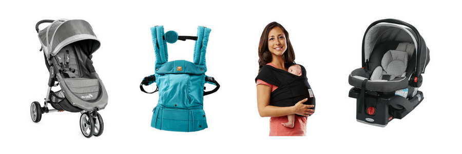 Collage of baby carriers and equipment.
