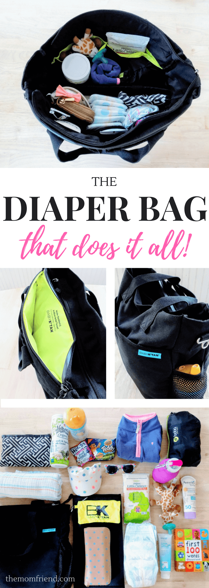 A review of the innovative Baby K'Tan Diaper Bag- see why it is great for cloth diapering and moms on the go! | best diaper bags | baby gear | baby shower gifts | diaper bag with pockets | diaper bag essentials, diaper bag organization | The Mom Friend