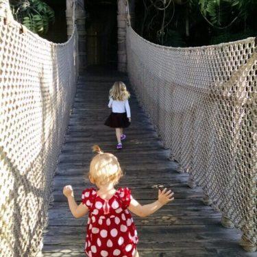 Children walk across bridge at Disneyland.