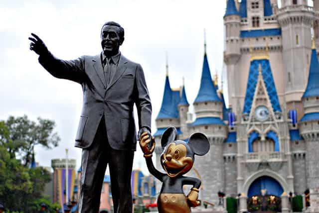 Walt Disney and Mickey statue at Disneyland.
