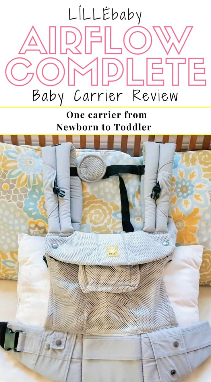 Pinnable image of LILLEbaby Airflow Complete Baby Carrier Review.