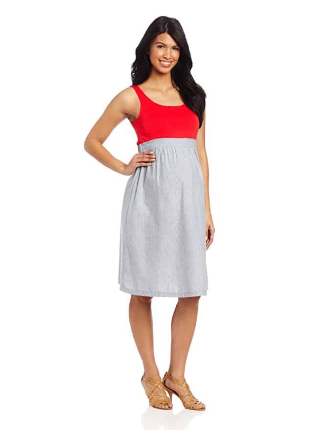 Red and grey maternity dress.