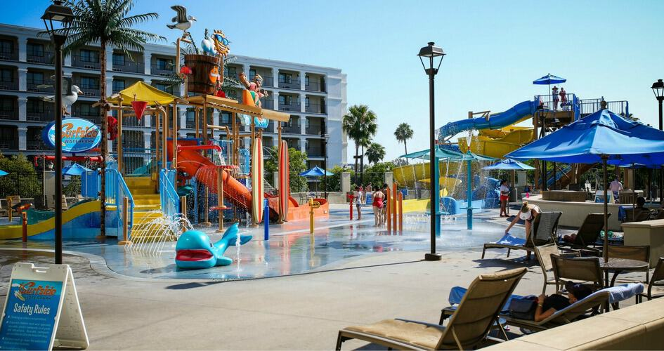 Waterpark in front of hotel.