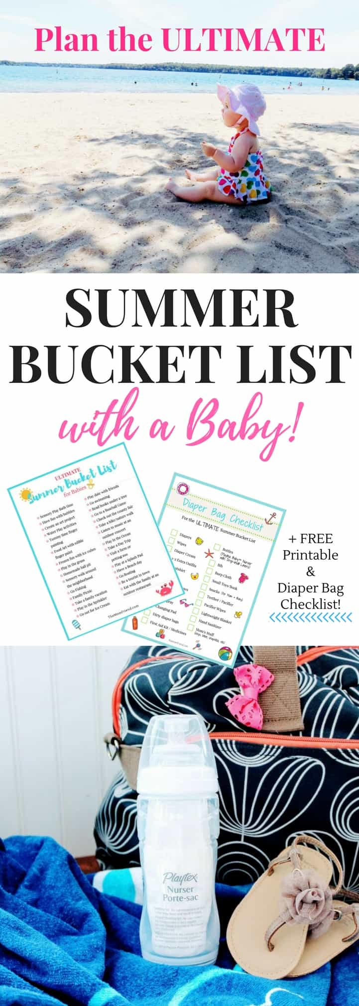 GREAT ideas on this Ultimate Summer Bucket List for Babies to create fun and lasting memories with your infant. Get out and explore, or engage in sensory play at home with these easy ideas. *FREE PRINTABLE Summer Bucket List + bonus FREE Diaper Bag Checklist* to keep you prepared!   summer activities for babies   summer ideas for toddlers   kids activities   play with baby   how to pack a diaper bag   diaper bag essentials   diaper bag for travel