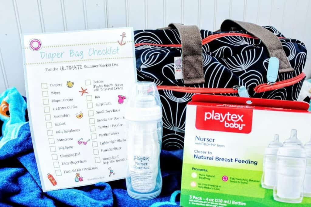 Playtex baby products with diaper bag checklist.