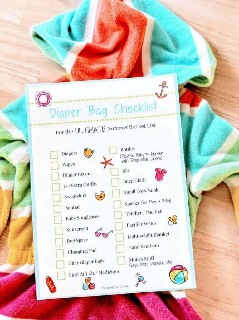 Summer diaper bag checklist printable.