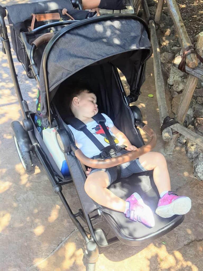 Little girl sleeps in stroller at Disney World.