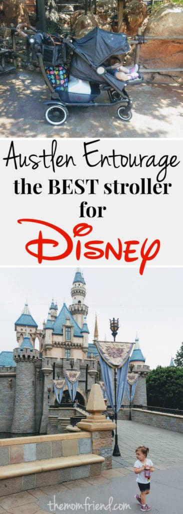 Pinterest graphic with text for Austlen Entourage the Best Stroller for Disney and image of Disney castle.