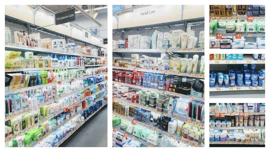Skin care aisle in grocery store.