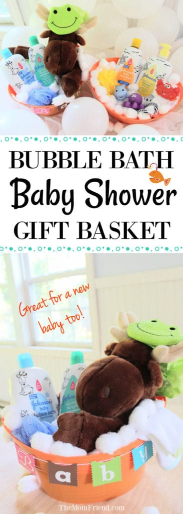 Pinnable image of bath themed baby shower gift.