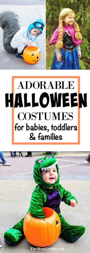 Pinnable image of Halloween costumes for babies and toddlers.