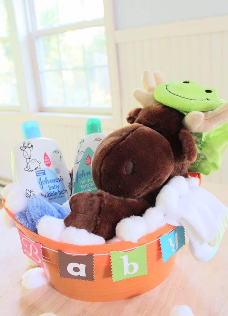 Themed gift basket items for babies.