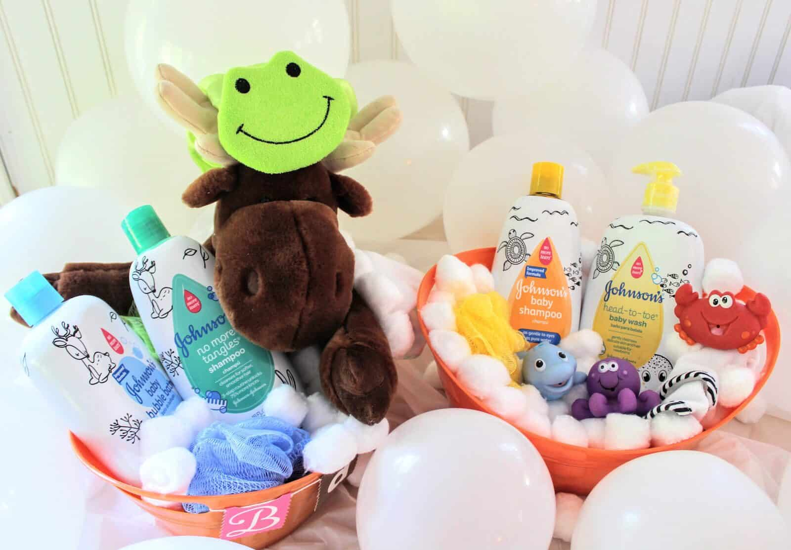 Easy & Adorable Bubble Bath Baby Shower Gift Basket! A fun DIY baby shower present with all the bath necessities makes the perfect baby shower gift for girls or boys! #babyshowergift #GiftingforBaby #ad
