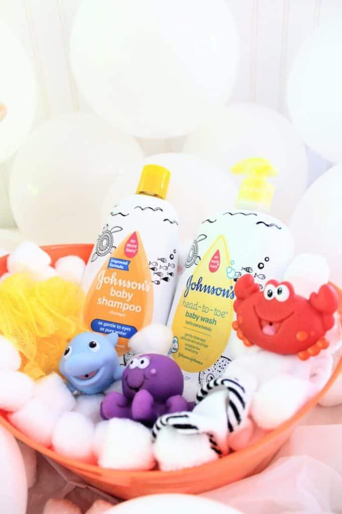 Bubble bath themed baby gift basket.