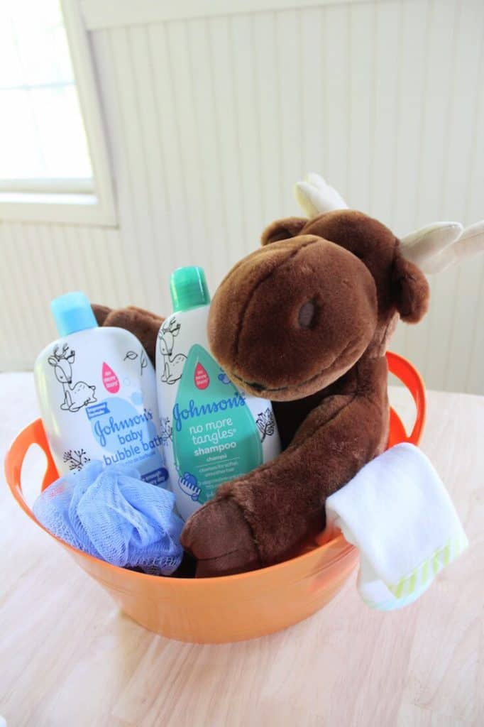 Baby care items with plush Moose.