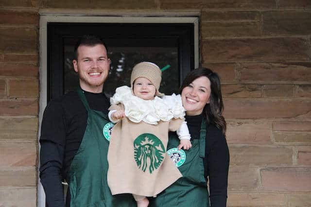 Family wears Starbucks themed Halloween costumes.