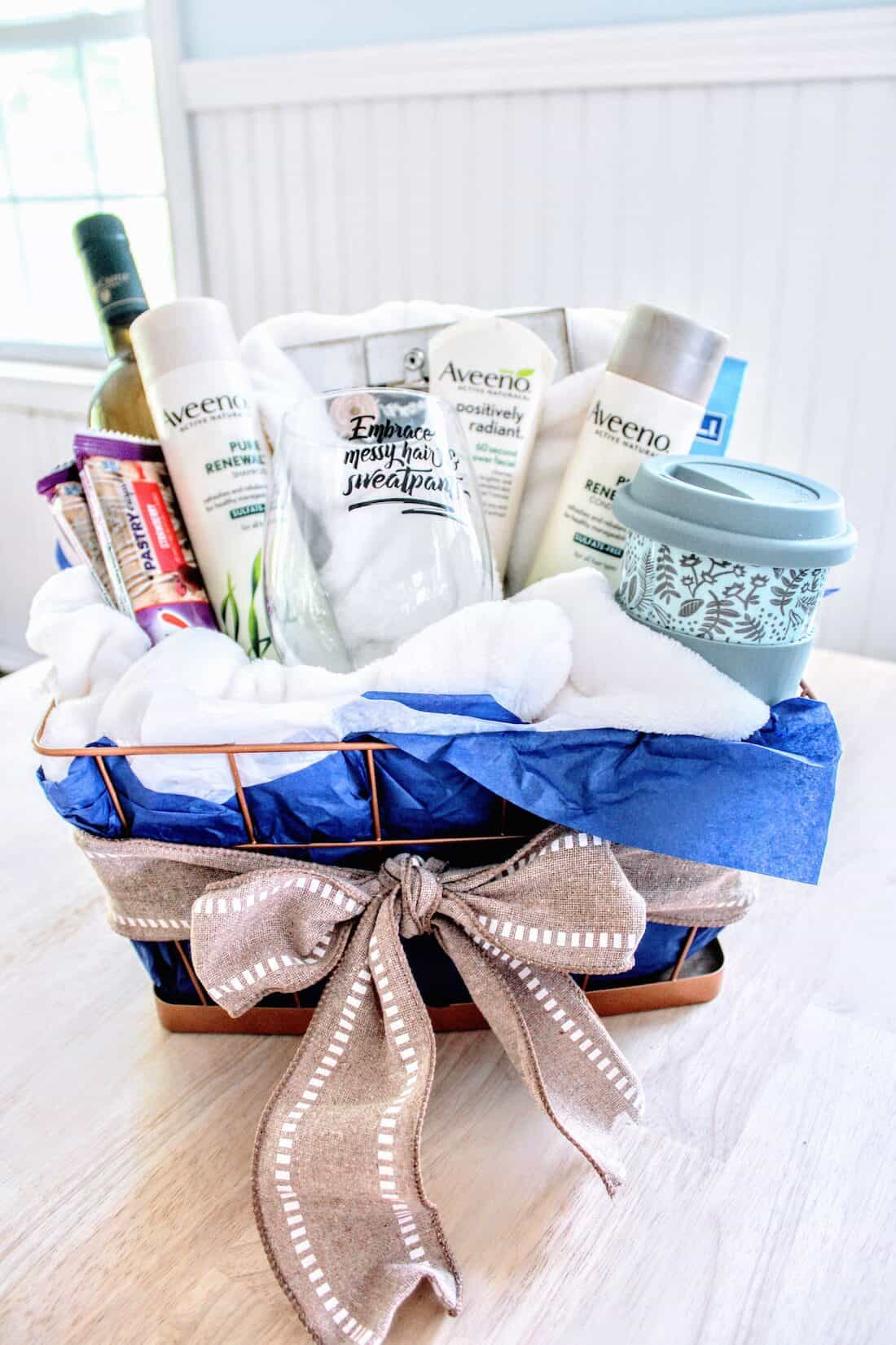 """New Mom \""""Treat Yourself\"""" Gift Basket with bow."""