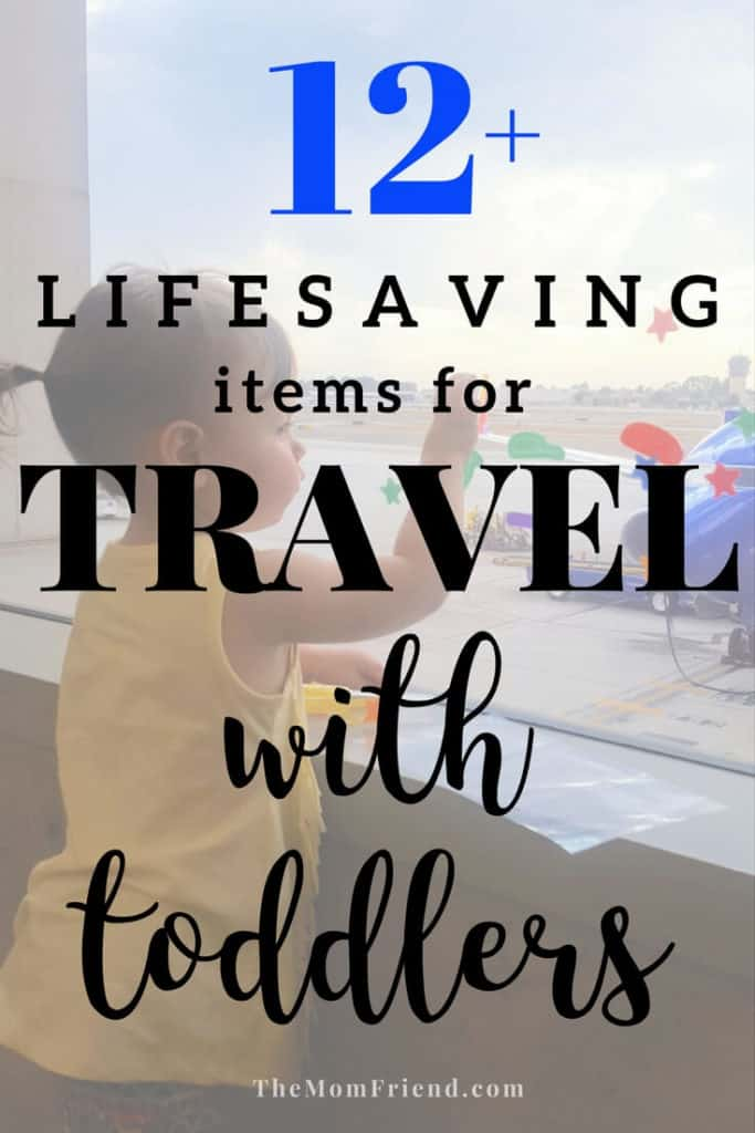 Pinterest graphic with text for Lifesaving Items for Travel with Toddlers.