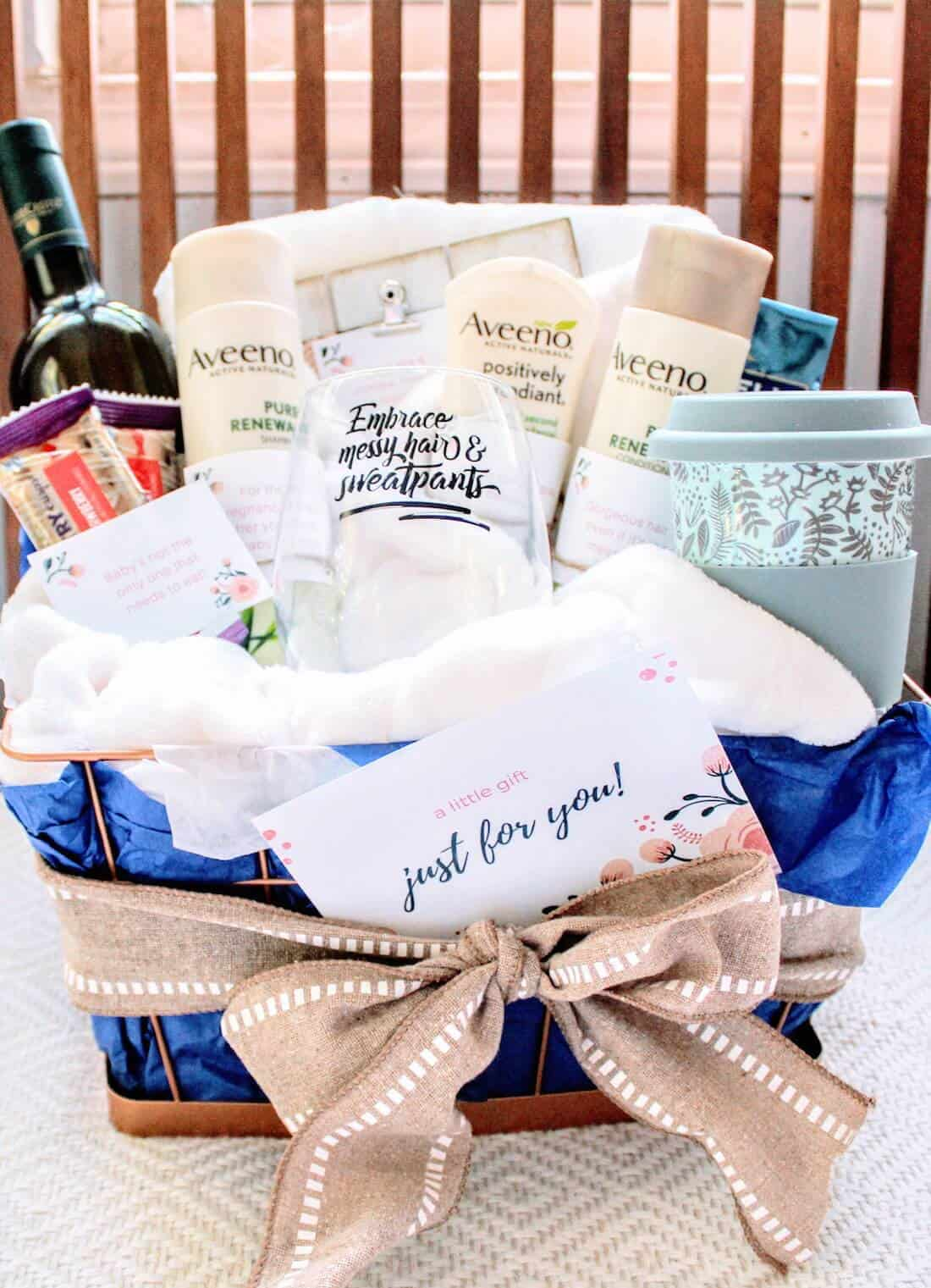 Gift basket filled with products for new moms.