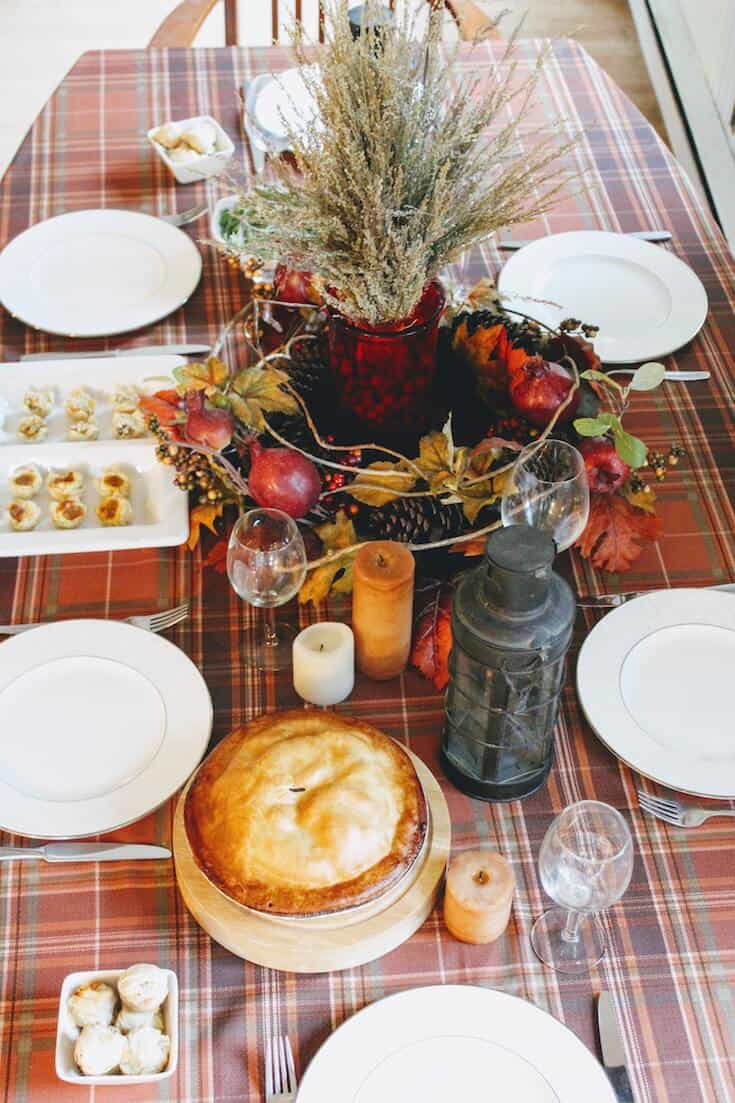 Thanksgiving table decor and food.