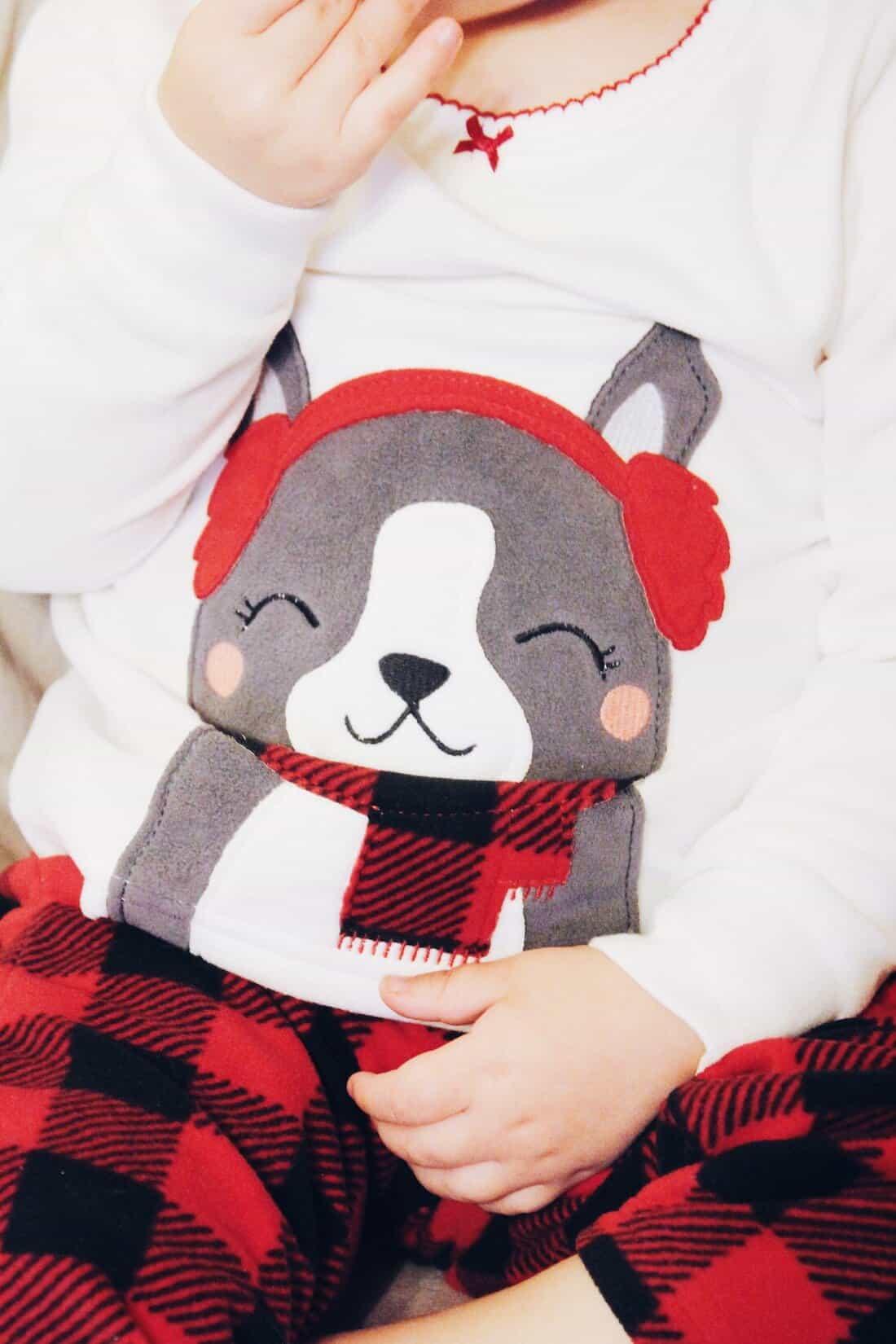 Holiday pajama set for toddler girls.