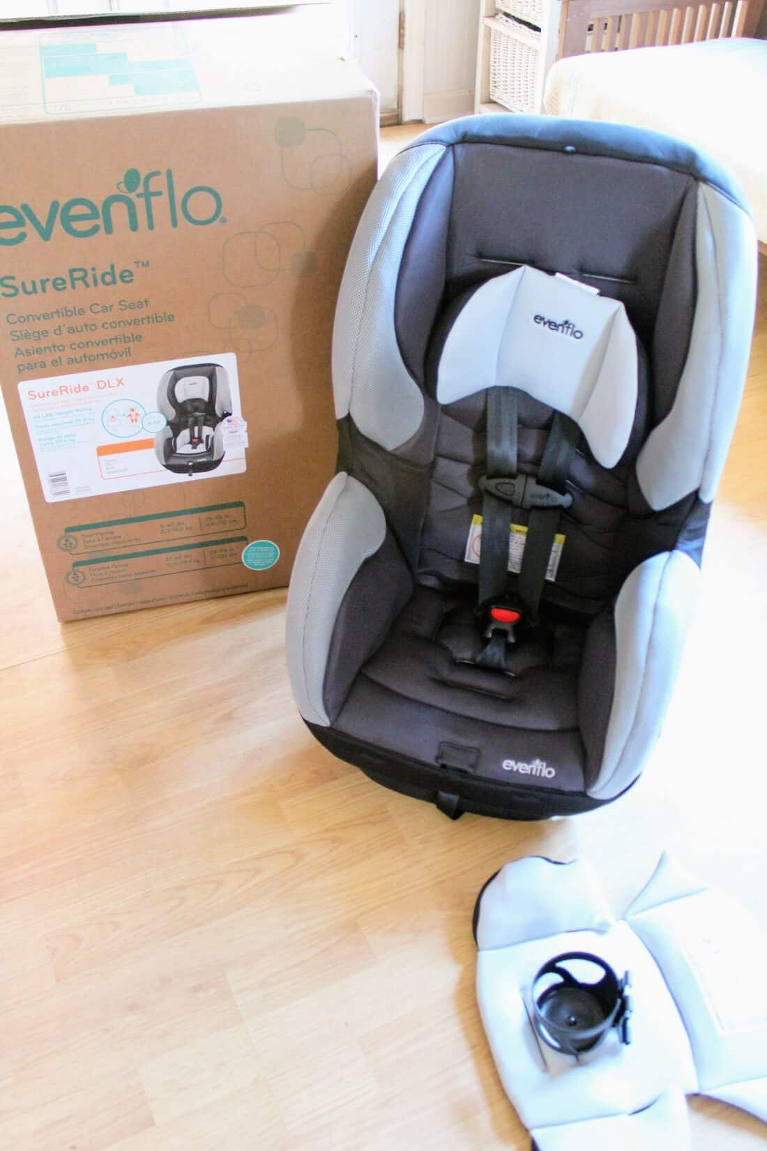 Evenflo Car Seat next to product box.