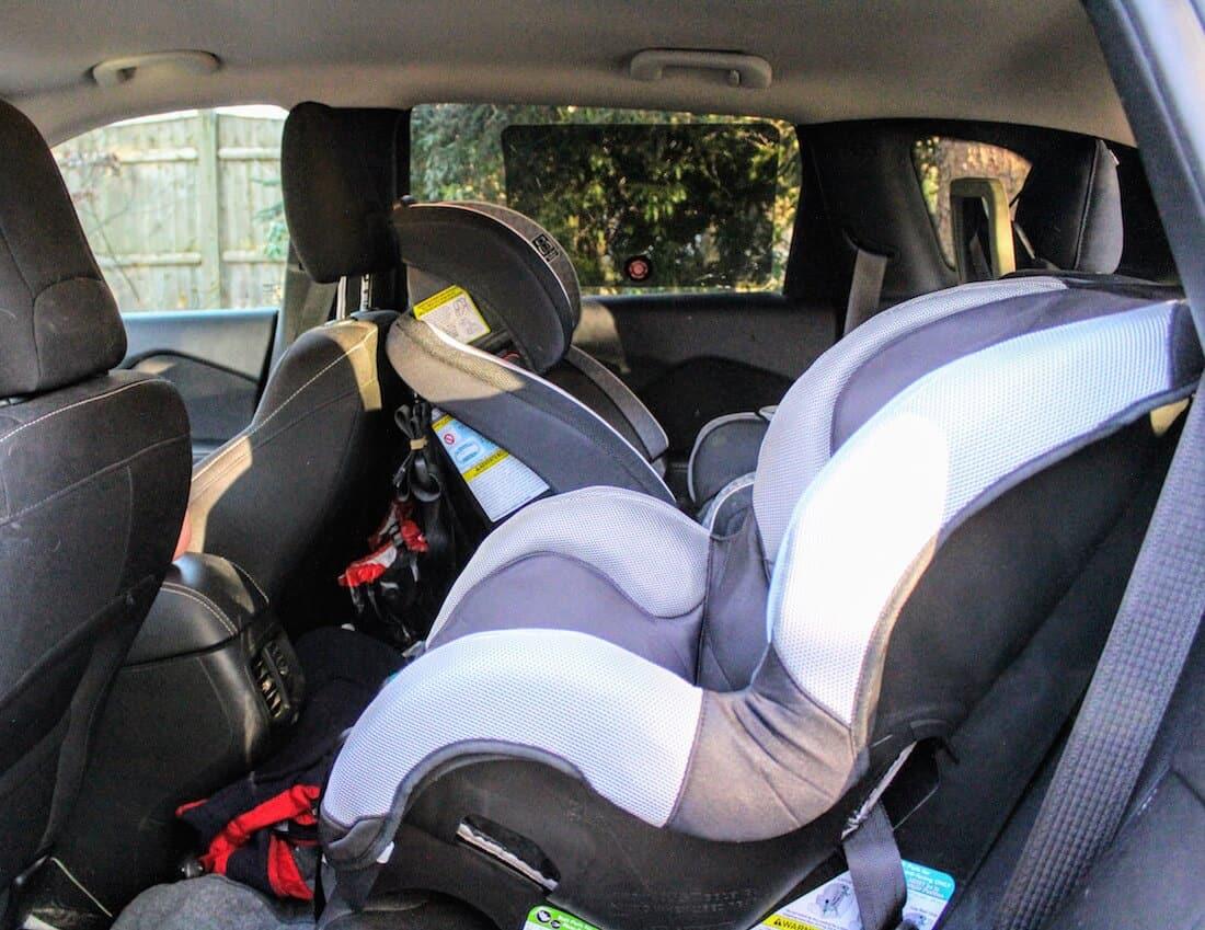 Car seats inside vehicle.