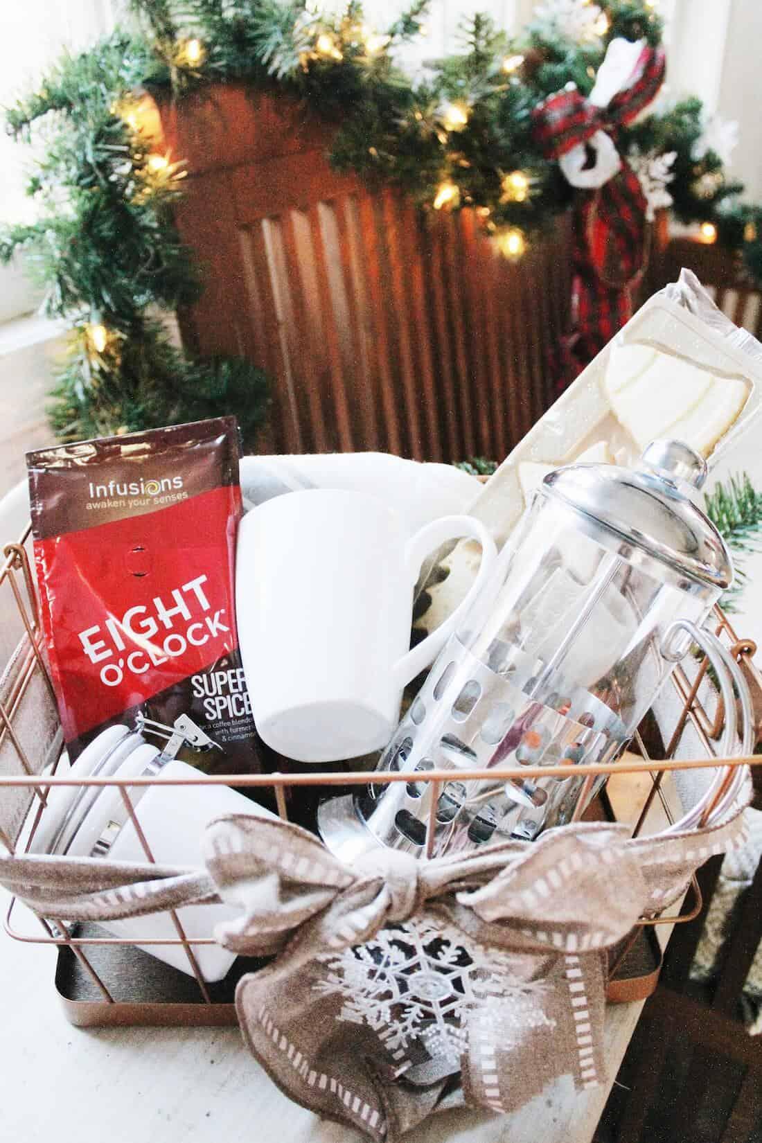 Coffee Themed Christmas Gift Basket.