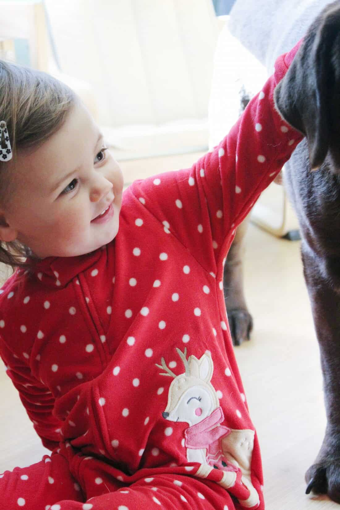 Girl in holiday pajamas plays with dog.