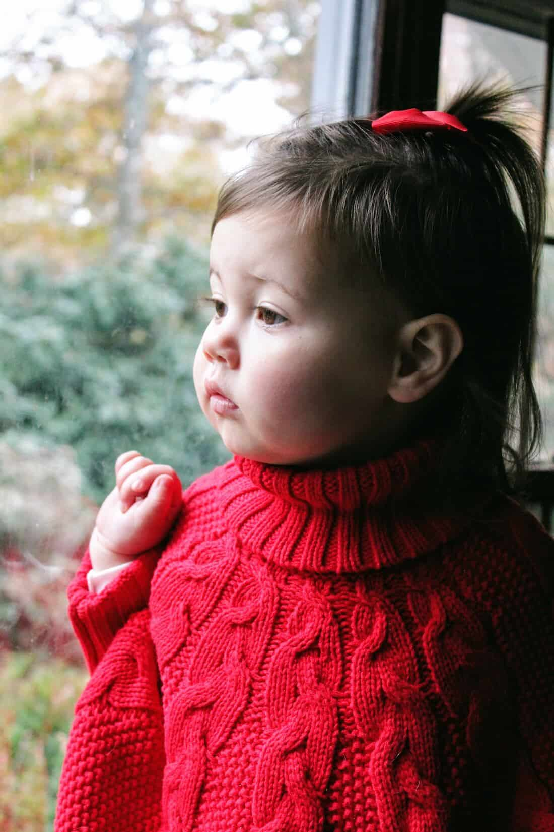 Toddler girl in red Christmas sweeter stares out window.