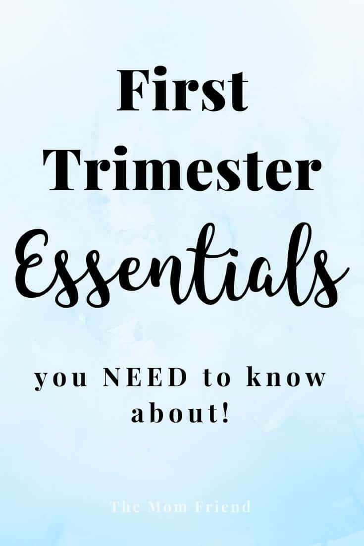 Pinterest graphic with text for First Trimester Essentials.