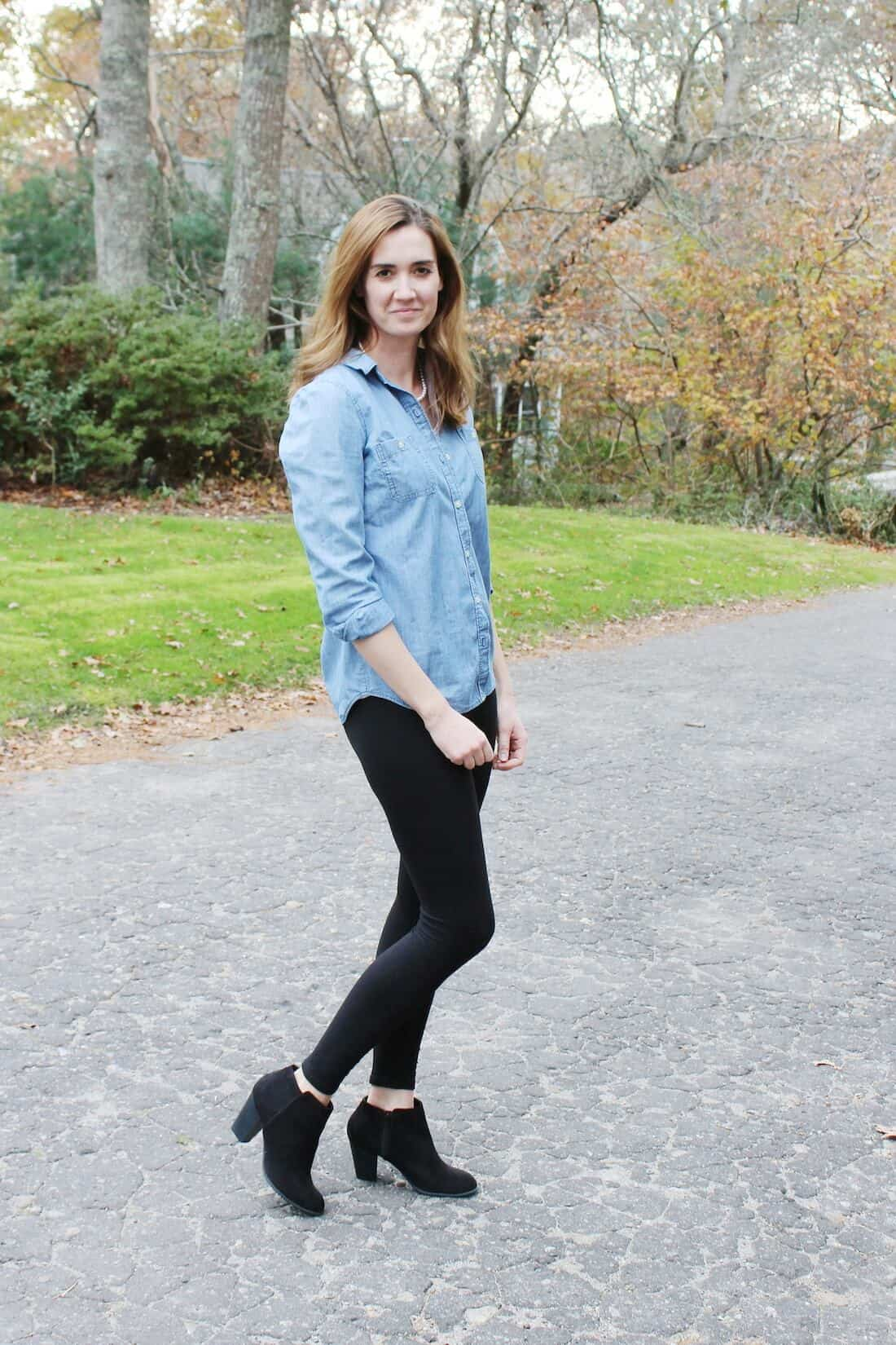 Maternity Fashion Idea: Leggings with Chambray Top for first trimester outfit