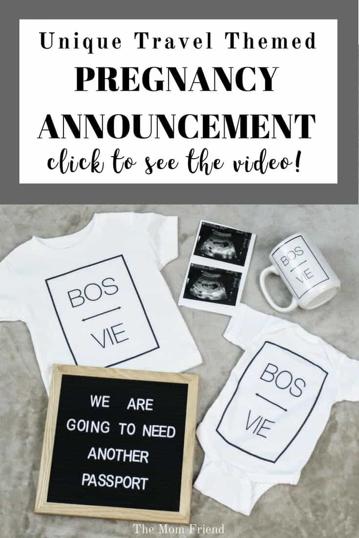 Pinterest graphic with text for Fun Travel Themed Pregnancy Announcement and image of flat lay pregnancy announcement.