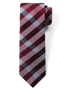 Red and grey plaid tie.