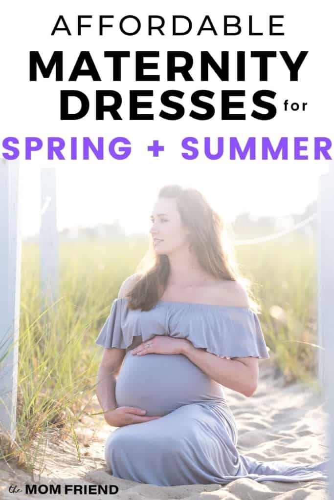 pregnant woman sitting on beach with text affordable maternity dresses for spring + summer