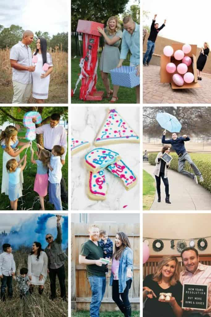 Collage of couples and families revealing the gender of their baby.